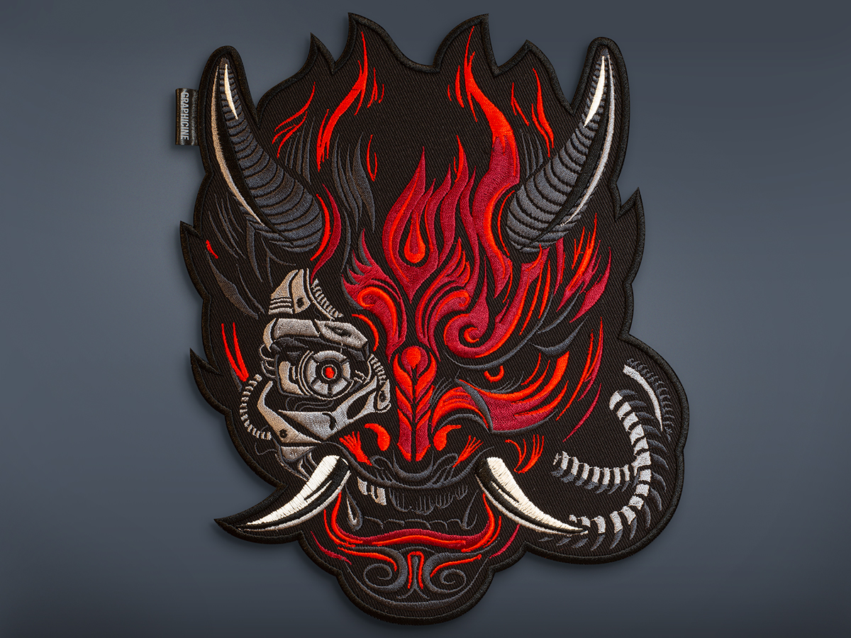 Cyberpunk Oni Demon Samurai Embroidered Back Patch Graphicine
